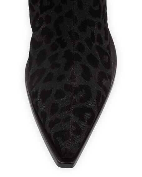 Leopard-Flocked Western Tall Boots