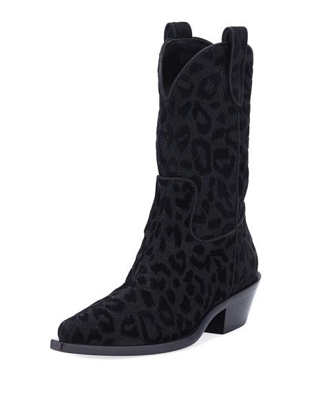 Dolce & Gabbana Leopard-Flocked Western Tall Boots