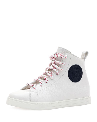 Lace-Up High-Top Shearling-Lined Sneakers