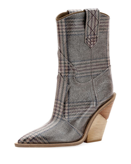 Plaid-Print Western 100mm Booties