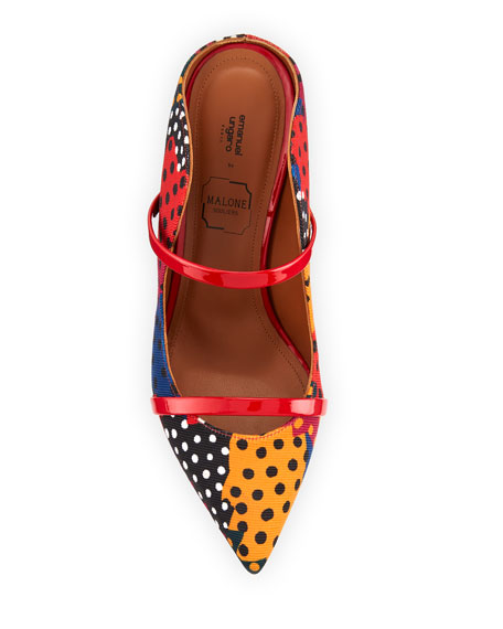 Maureen Polka-Dot Puzzle Fabric Mule Pump