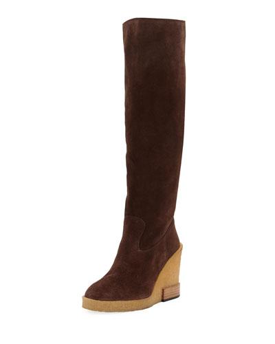 Suede Wedge-Heel Knee Boots