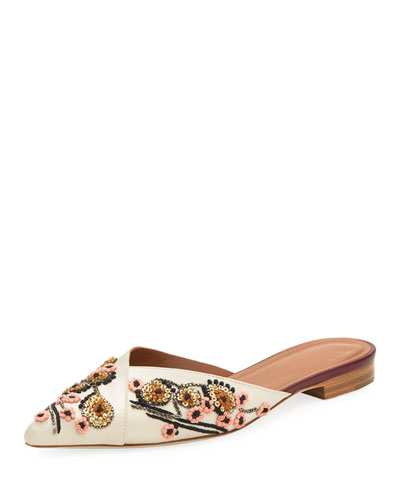 Portia Embroidered Flat Mule