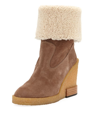 Suede Wedge-Heel Booties with Shearling Cuff