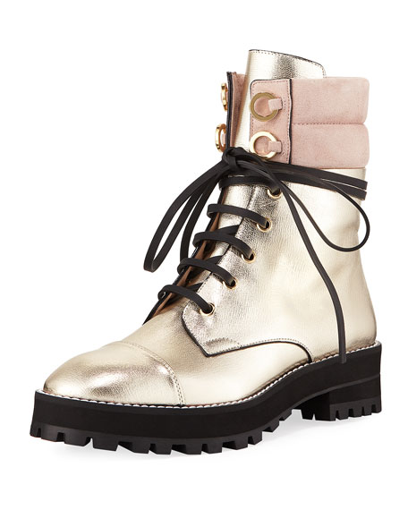 Lexy Metallic Leather Combat Boot