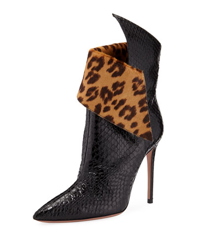 Night Fever Snakeskin Booties w/ Leopard-Print Collar