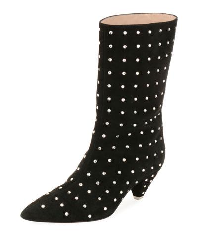 Sofia Suede Crystal-Trim Boots