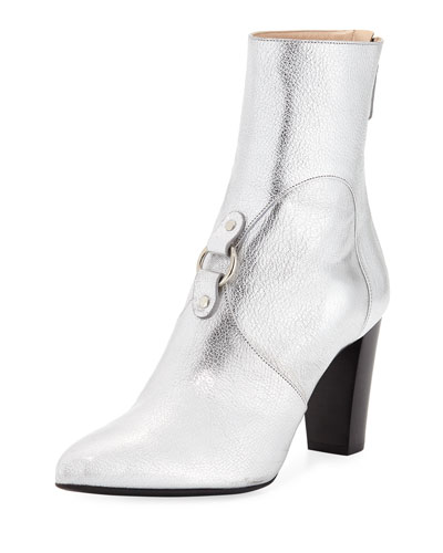 Lucy Harness-Covered Metallic Leather Booties