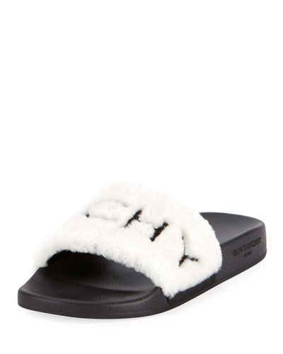 Shearling Pool Slide Sandals