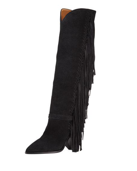 Lenston Tall Knee Boots With Fringe, Black