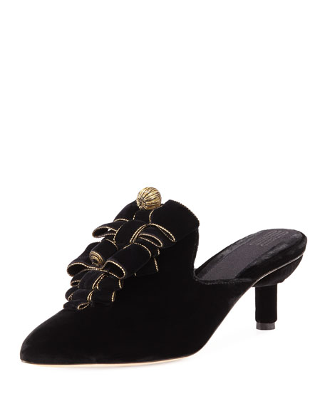 Vittoria Embroidered Mules W/ Bows in Black/Gold