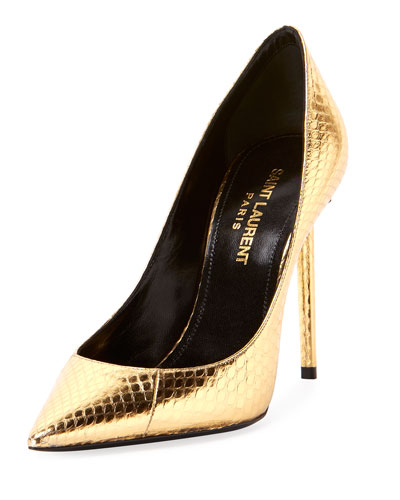 Zoe Metallic Snakeskin Pumps