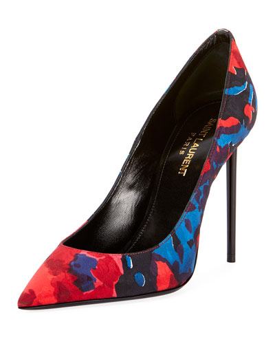 Zoe Silk Fleur Eighty Point-Toe Pump