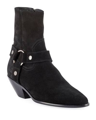 West Suede Harness Booties, Black