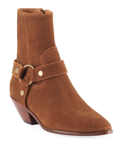 West Suede Harness Booties, Brown