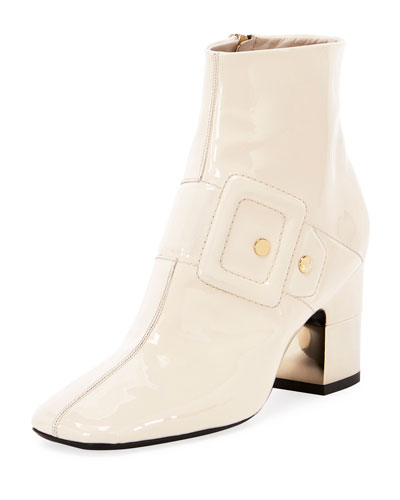 Podium Illusion Buckle Leather Booties