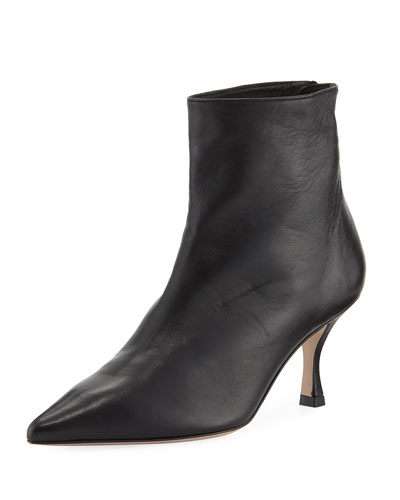 Juniper Leather Mid-Heel Booties