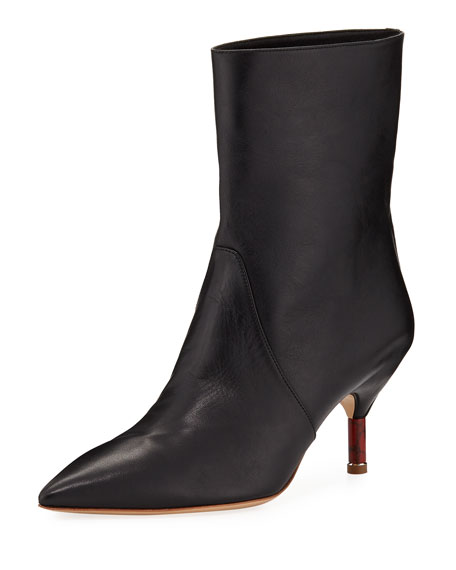 Mariana Ankle Leather Boots, Black