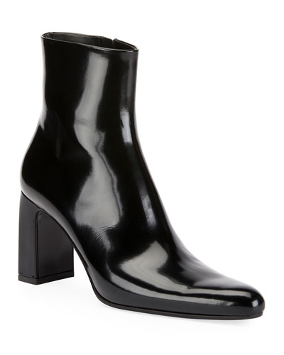 Leather Block-Heel Booties