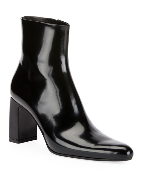 Patent Leather Ankle Boots - Black Size 11
