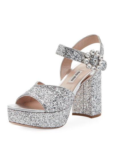 Glittered Platform Block-Heel Sandals