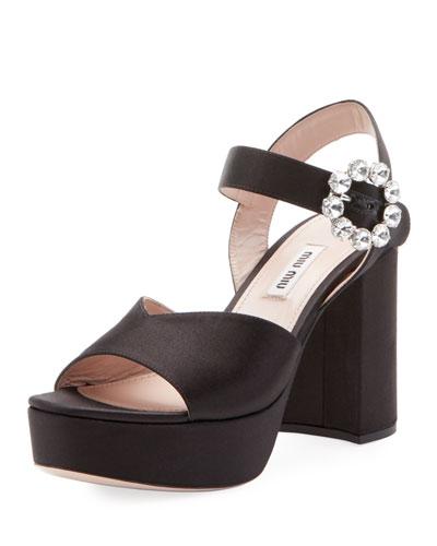 Satin Platform Block-Heel Sandals