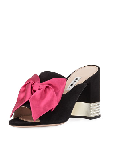 Suede Slide Sandals with Bow