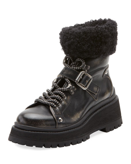 Lace-Up Boots with Buckle and Sock Detail