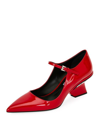 Patent Mary Jane Pump with Angled Heel