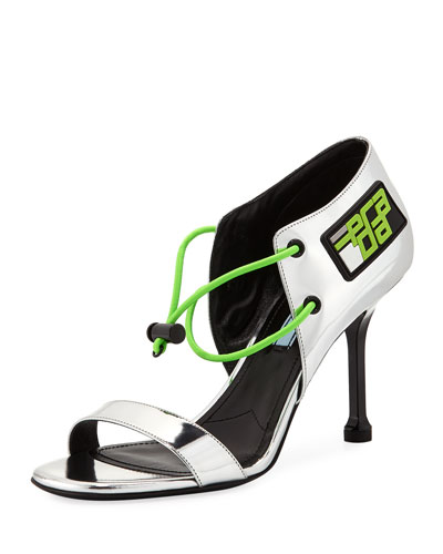 Mirrored Calf Bungee Sandals