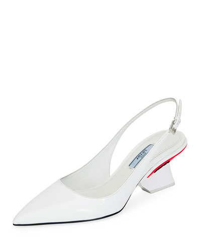 Patent Slingback Pump with Angled Heel