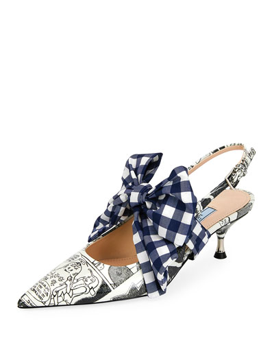 55mm Comics Slingback Pumps with Gingham Bow