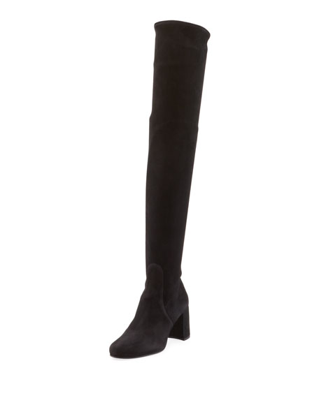 Suede Zip Over The Knee Boot by Prada