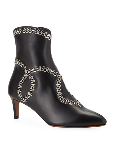 Swirled Grommet Ankle Booties
