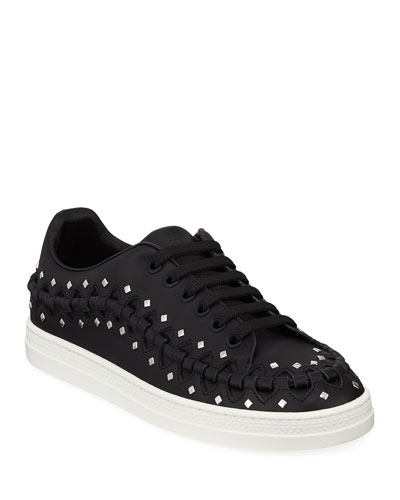 Whipstitched Studded Platform Sneakers