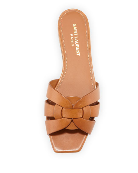910812293 Saint Laurent Woven Leather Sandal Slide