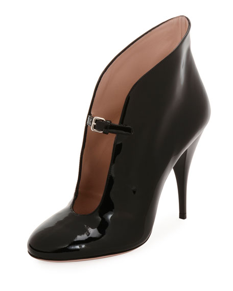 Patent Low-Front Buckle Pumps in Black