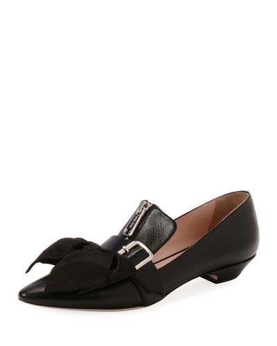 Buckle Loafers With Bow