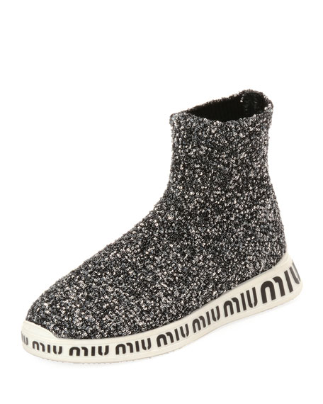 PAILLETTES STRETCH-SOCK SNEAKERS