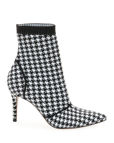 85 Houndstooth Stretch-Knit Sock Boots in Black