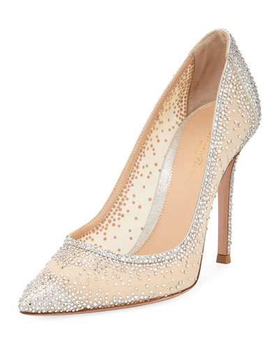 Strass Pointed Metallic Pumps