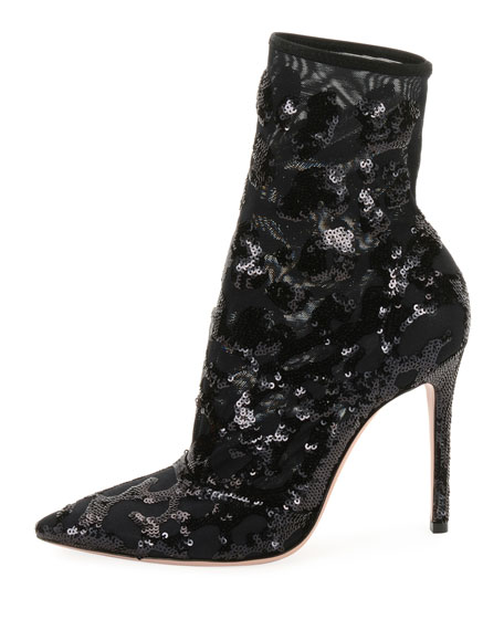 Gianvito Rossi Leopard Sequined Mesh Ankle Boots