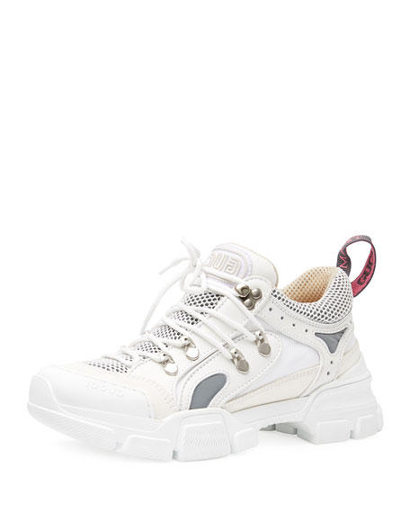 Gucci Lace-Up Sneakers, White