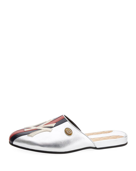 Gucci NY Yankees MLB Metallic Leather Slipper Mules