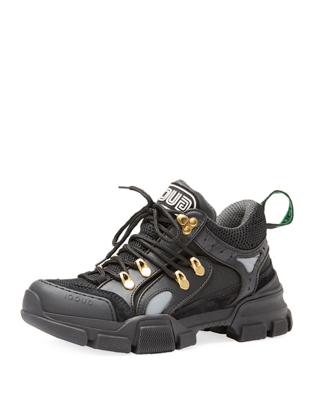 Gucci Chunky Plain Mixed-Media Hiker Sneakers