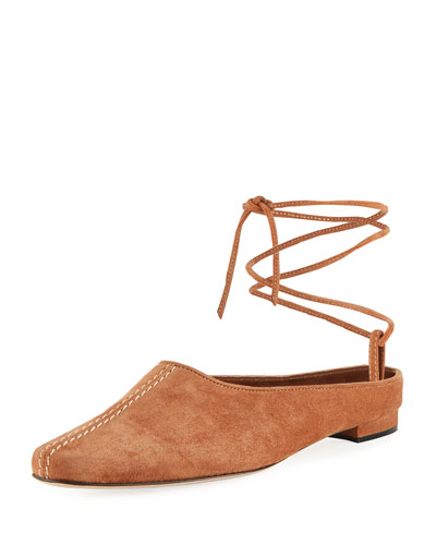 Etnica Suede Mule with Ankle Tie