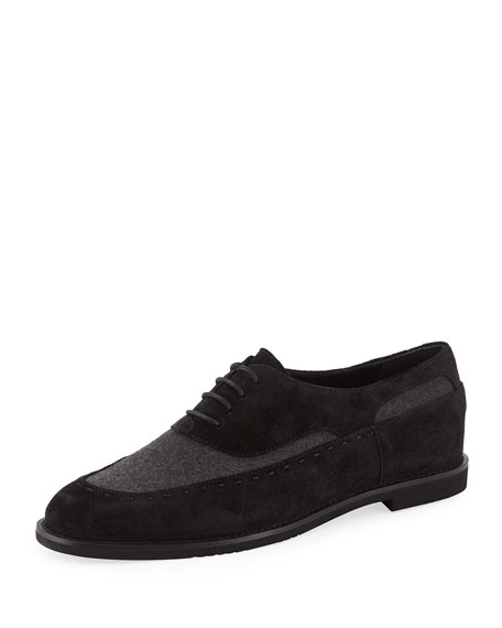 Lace-Up Two-Tone Drivers in Gray/Black