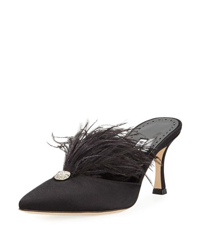 Isona Satin Feather Mules