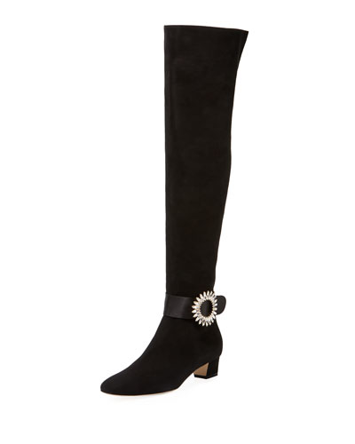 Abau Over-The-Knee Boots w/Crystal Buckle