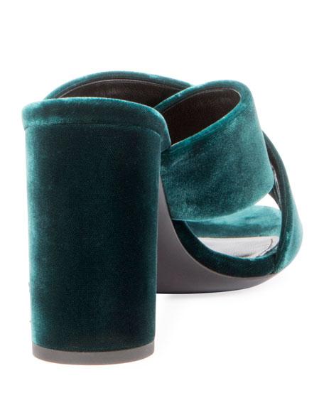 d0776874245 Saint Laurent Velvet Block-Heel Mule Sandal